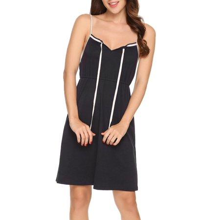 Women Spaghetti Strap Sleeveless Under Bust Nighties Sleepwear Dress HFON