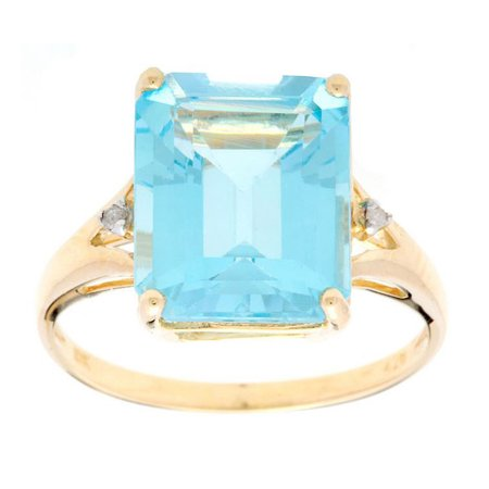 10k Yellow Gold Emerald-Cut Blue Topaz and Diamond Accent Ring