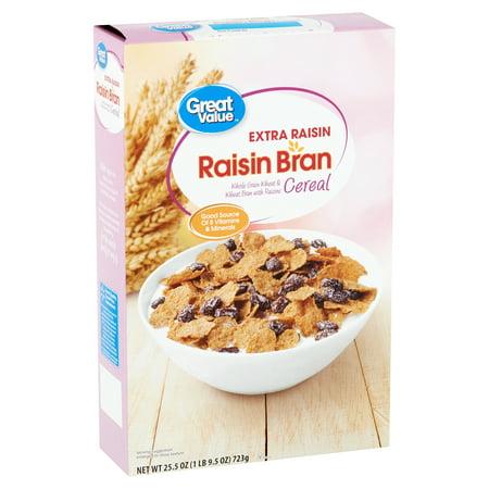 Great Value Raisin Bran Extra Raisin Cereal, 25.5