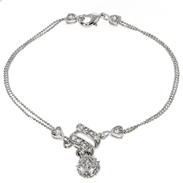 """Stunning 7"""" Metal Ball Shape Charm Bracelet with White Crystals and Ball Chain"""