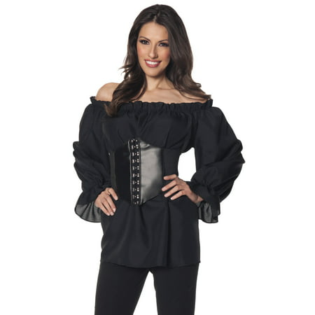 Renaissance Long Sleeve Womens Adult Black Pirate Costume - Womens Long Sleeve Black Tee
