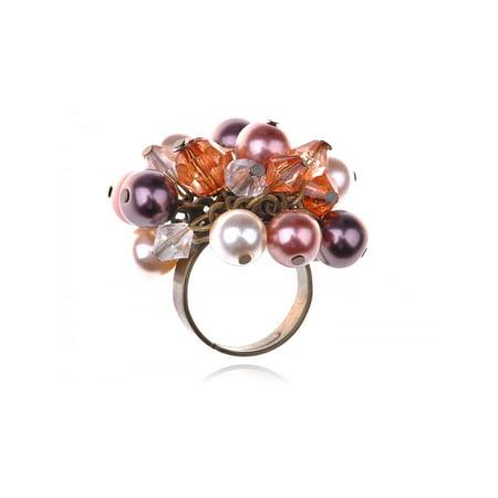 Fabricated Opal White Pearl Smoke Cluster Acrylic Beaded Fashion Jelwery Ring