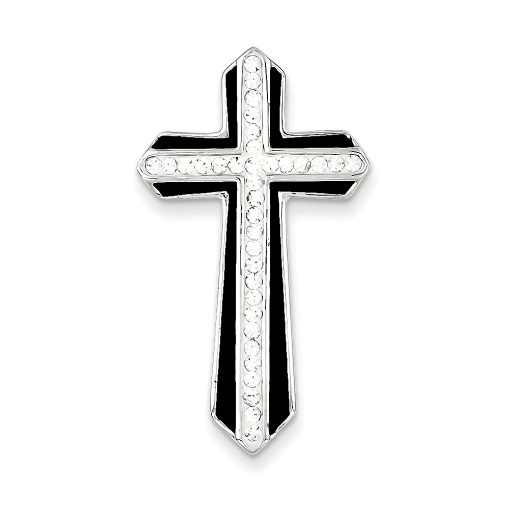 Sterling Silver Rhodium Stellux Crystal & Enameled Cross Slide