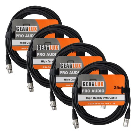 Gearlux 3-Pin DMX Cable, Black, 25 Foot - 4 Pack (100 Dmx Cable)