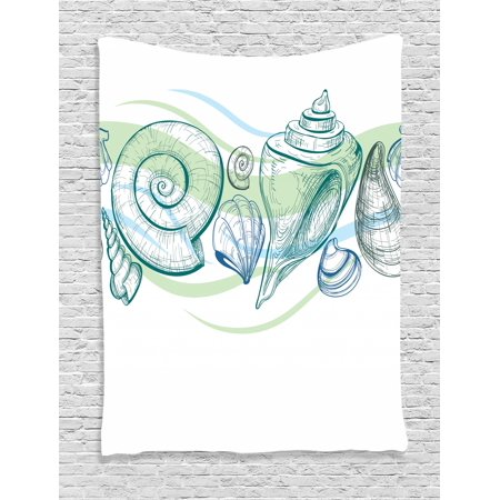 Other Pastels (Seashells Tapestry, Pastel Color Graphics of Seashells with Sketchy Features and Other Sea Elements, Wall Hanging for Bedroom Living Room Dorm Decor, White Green, by Ambesonne )