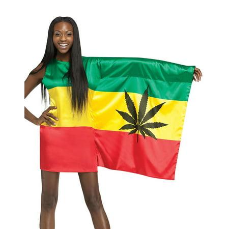 Rasta Girl 420 Weed Flag Womens Sexy Bob Marley Holiday Party Costume S-L - Rasta Woman Costume