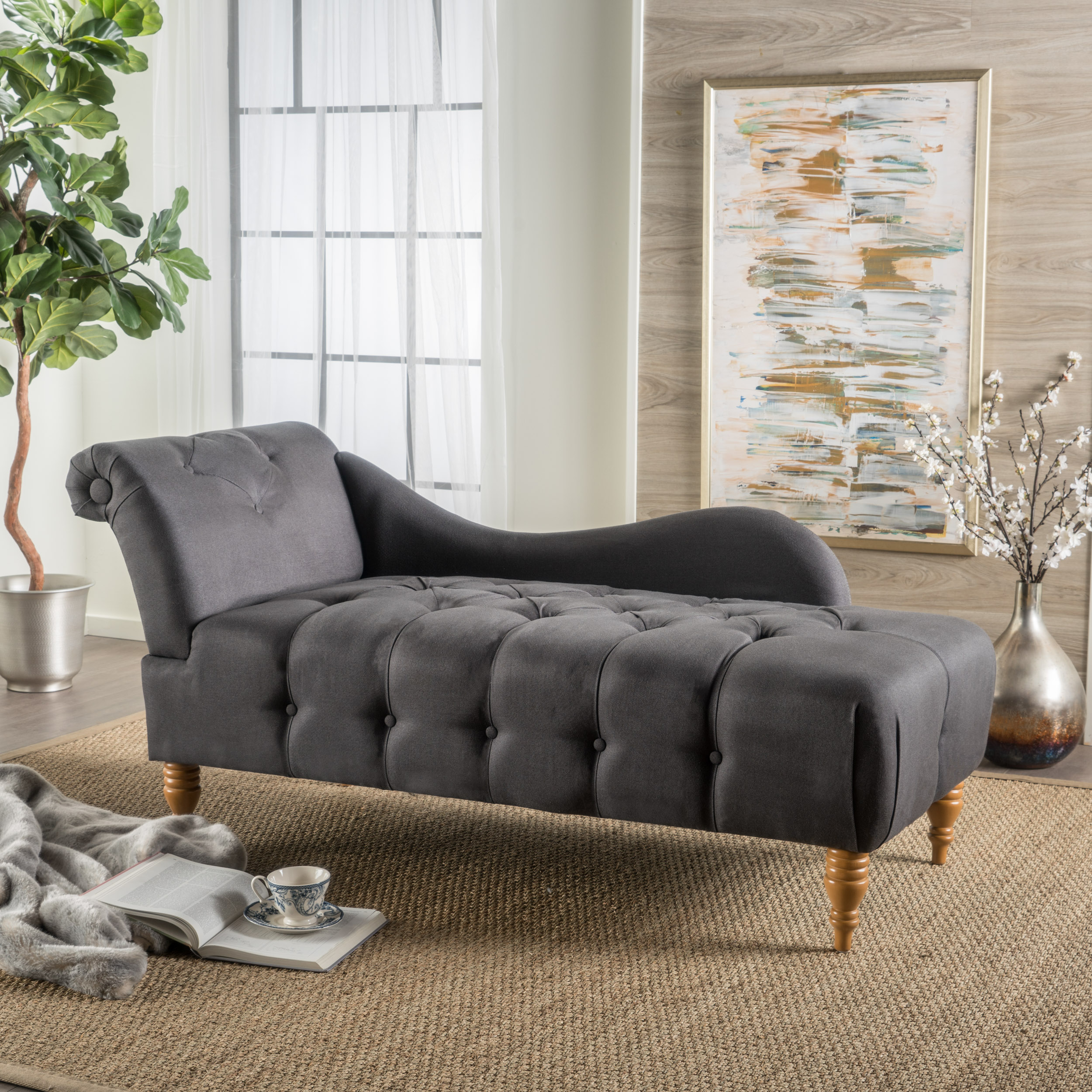 Ariel Fabric Tufted Chaise Lounge, Dark Charcoal
