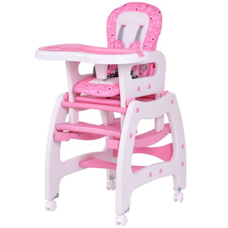 costway 3 in 1 baby high chair convertible play table seat booster toddler feeding tray pink. Black Bedroom Furniture Sets. Home Design Ideas
