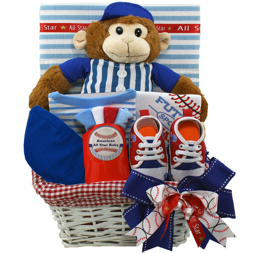 Art of Appreciation Gift Baskets American All Star Baby Boy Baseball Gift with Teddy Bear, Red/White/Blue []