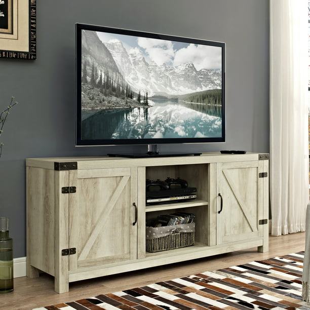 "Manor Park Modern Farmhouse Barn Door TV Stand for TVs up to 64"" - White Oak"