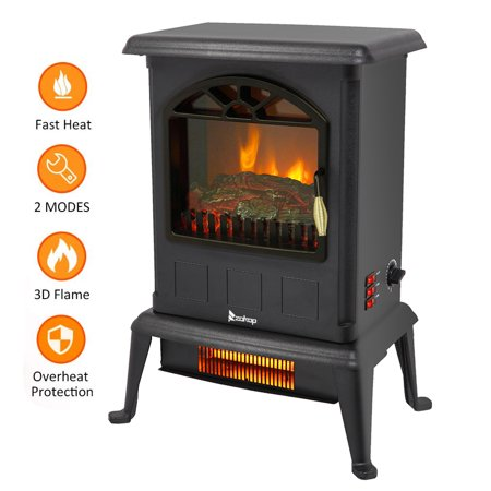 Clearance!Infrared Fireplace Heater, Portable Electric Infrared Quartz Heater with 3D Flame Effect, Free Standing Fireplace Stove Heater for Office Home, Overheat and Tip-Over Protection, 2 Heat Mode Fuel Fired Heater