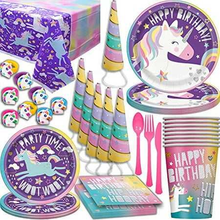 Unicorn Birthday Party Supplies for 16. Large and Small plates, Cups, napkins, Tablecloth, Cutlery, Rainbow Sparkle Horn Hat, Rubber Rings. Disposable Party Tableware, Decorations, and Favors - Small Birthday Party Ideas