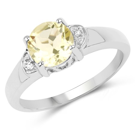- 925 Sterling Silver Genuine Lemon Quartz and White Topaz Ring (1.23 Carat) Size 6