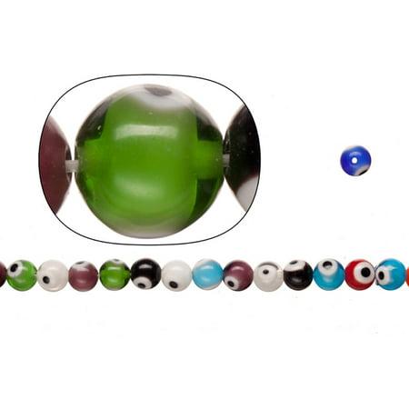 Glass Beads, Mix Color Evil Eye Amulet Design, 8mm Round. Sold per pkg of 36cm String