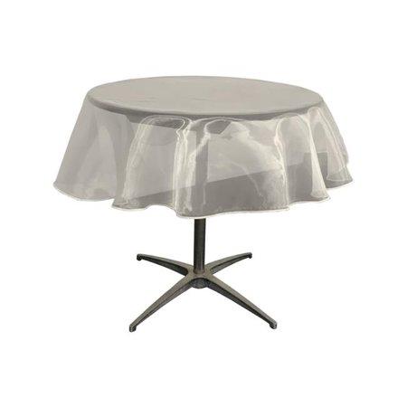 LA Linen TCOrgz58R-IvoryO25 Sheer Mirror Organza Round Tablecloth, Ivory - 58 in. - image 1 de 1