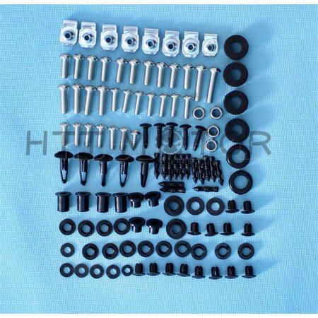 HTTMT- Stainless Steel Fairing Bolt Kit Body Bolt Washer For Suzuki GSX-R 600 750 (Left Lower Fairing Body)