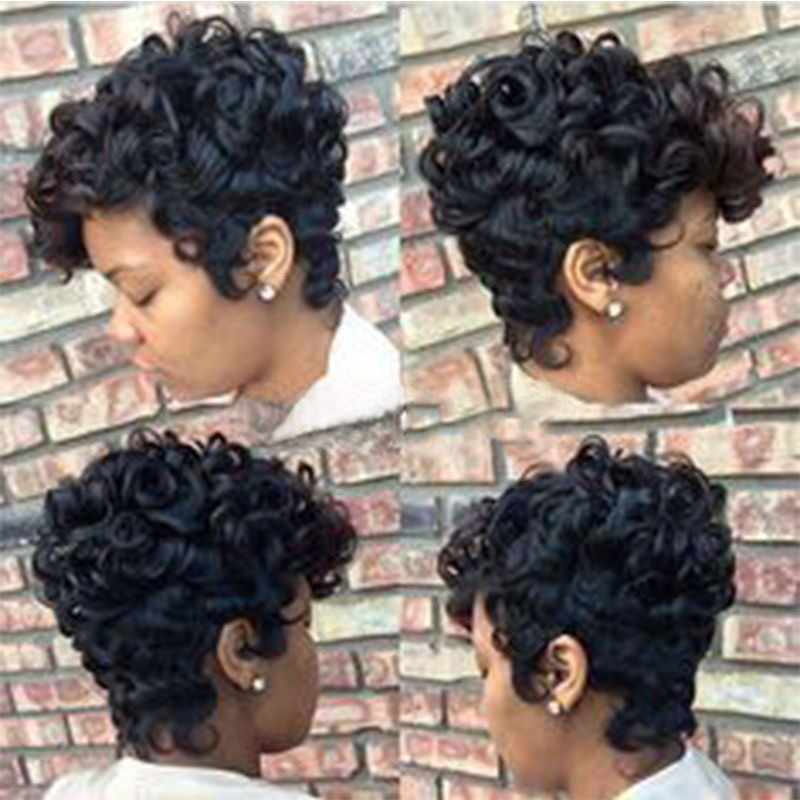 Mosunx Women Short Black Brown FrontCurly Hairstyle Synthetic Hair Wigs For Black Women