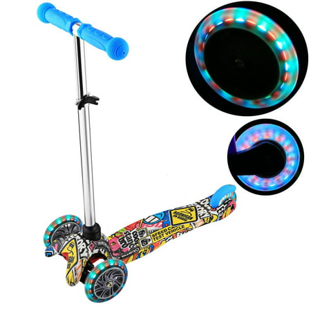 Kick Scooter for Kids 3 Wheel Scooter, 4 Adjustable Height, Lean to Steer with PU LED Light Up Wheels for Children from 3 to 17 Years Old