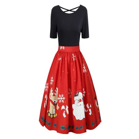 Iuhan Fashion Womens Plus Size Christmas Print Criss Cross Gown Evening Party Dress