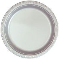 "Hanna K Plastic Plates, Round, 10"", Silver, 50 Ct"