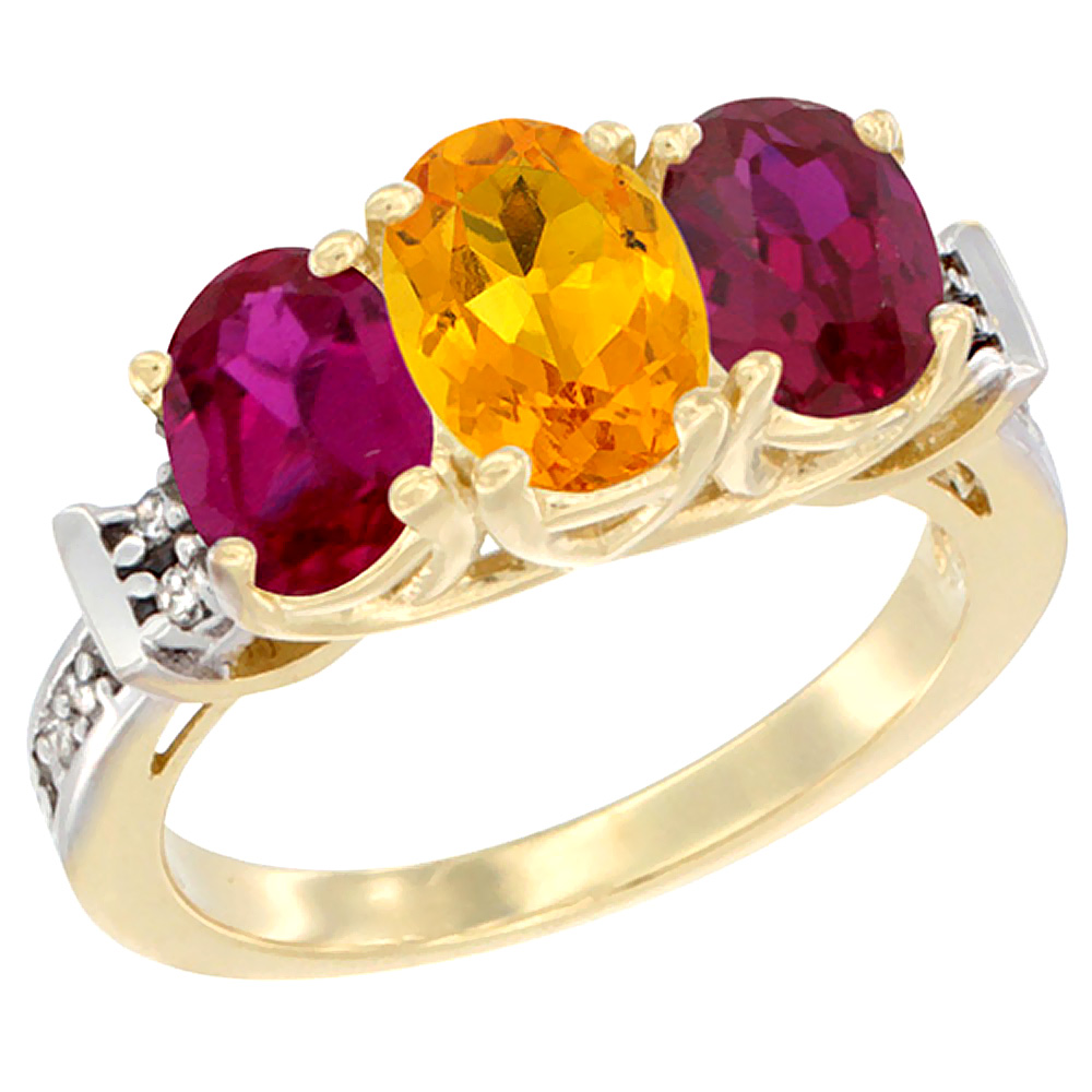 10K Yellow Gold Natural Citrine & Enhanced Ruby Sides Ring 3-Stone Oval Diamond Accent, sizes 5 10 by WorldJewels