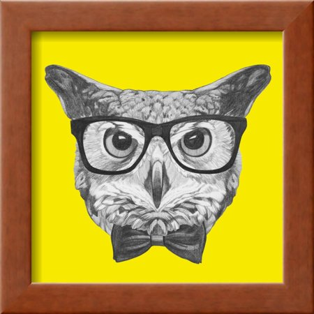 Original Drawing of Owl with Glasses and Bow Tie. Isolated on ...
