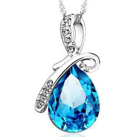 Designer Inspired Silver-Tone Blue Pear Drop Necklace, 18