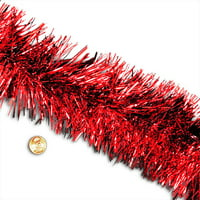 "Red Tinsel Garland 4"" X 50 Ft Christmas  by Paper Mart"