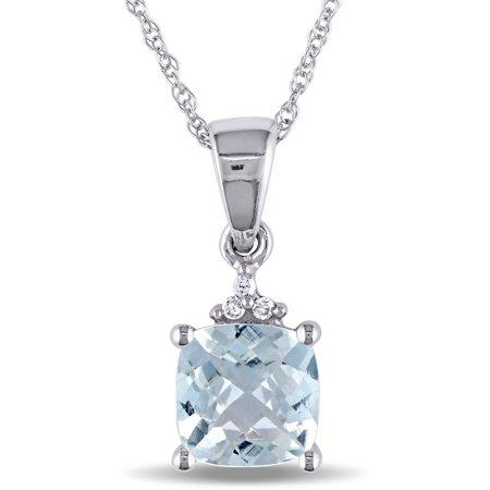 4/5 Carat T.G.W. Aquamarine and Diamond-Accent 10kt White Gold Fashion Pendant, 17 18k White Gold Aquamarine Pendant