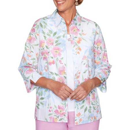 Alfred Dunner Plus Garden Party Floral 2 Piece Button Up Top