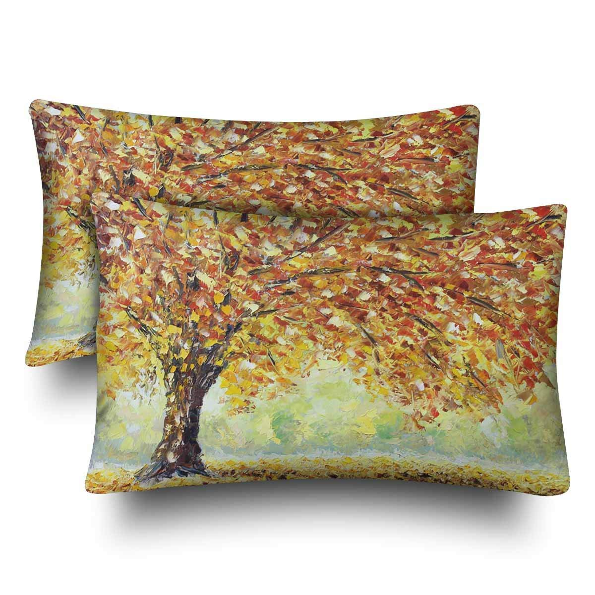 GCKG Lonely Autumn Tree Fallen Leaves Clouds Pillow Cases Pillowcase 20x30 inches Set of 2 - image 4 de 4