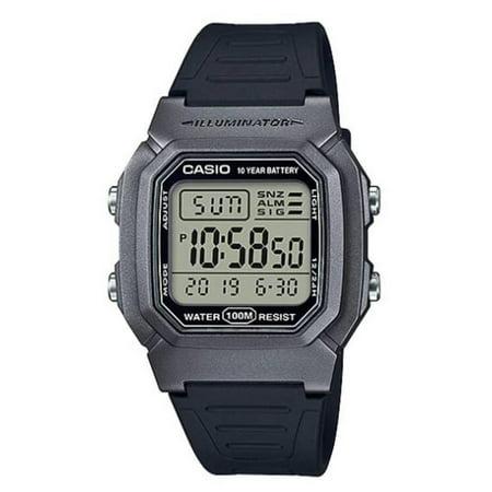 Men's Dual Time Digital Watch, Silver/Black - W-800HM-7AVCF
