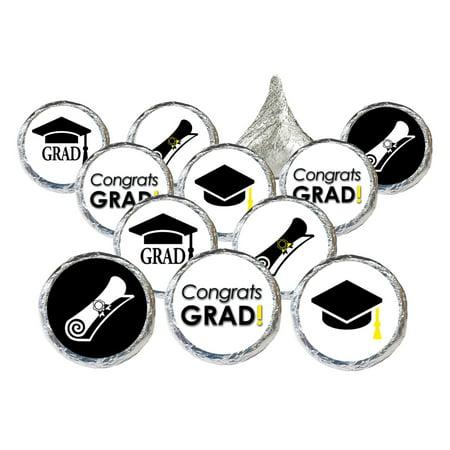Graduation Party Favor Stickers 324 Count - Congrats Grad Party Supplies Black and White Graduation Party Decorations Candy Favors Supplies - 324 Count Stickers (Black And White Gala Decorations)
