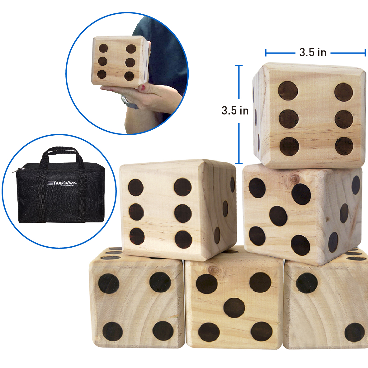 LARGE DICE GAME – GIANT WOODEN YARD GAME SET – DICE WITH BAG - KIDS & ADULTS – GREAT LAWN AND FAMILY GAME