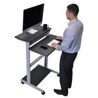 """32"""" mobile ergonomic stand up desk computer workstation (black shelves with silver frame)"""