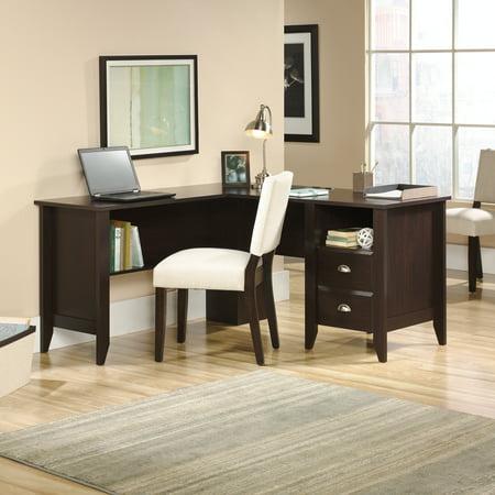 L-shaped Wood Desk (Sauder Shoal Creek L-Shaped Desk, Jamocha Wood)