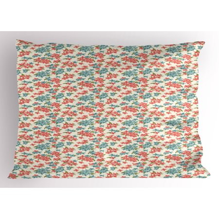 (Garden Art Pillow Sham Watercolor Style Bouquet of Flowers with Fresh Leaves Spring Season, Decorative Standard Size Printed Pillowcase, 26 X 20 Inches, Coral Blue Fern Green, by Ambesonne)