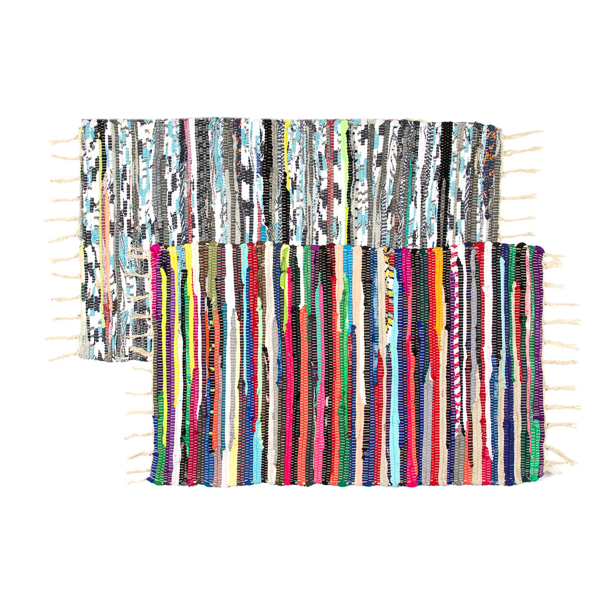 """Set of 2 Chindi Rag Rugs 20""""x32"""" Multi Colored Recycled Cotton Woven Entryway For Living Room Kitchen Bathroom Bedroom Dorm"""