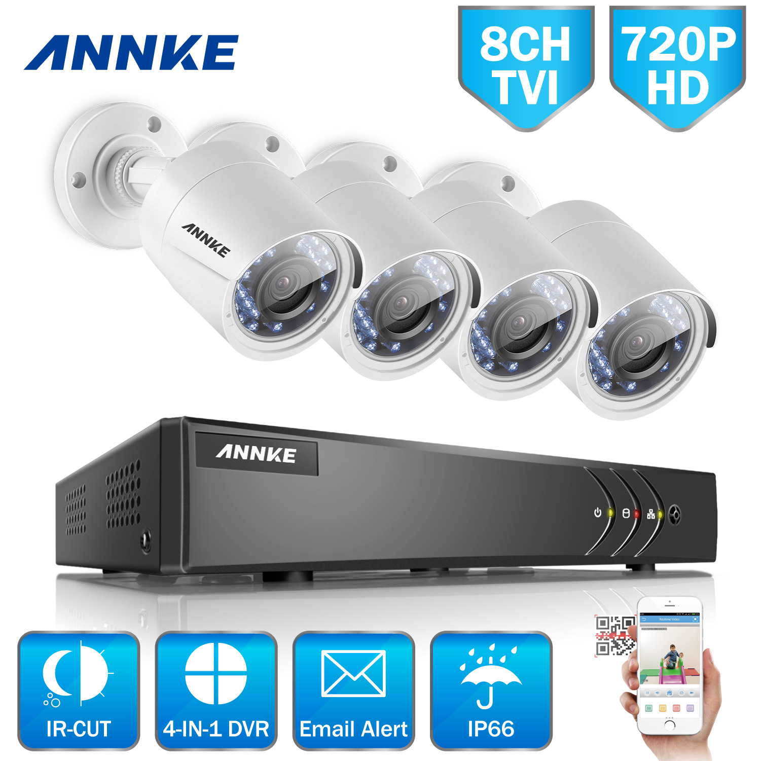ANNKE 8CH H.264+ HD 1080P Security DVR and 4Pcs 720P Indo...