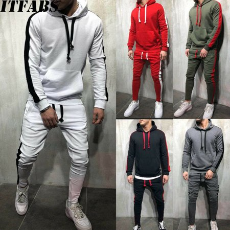 SUNSIOM Men Tracksuit Jogging Top Bottom Sport Sweat Suit Trousers Hoodie Coat Pant Jacket Top Skirt Pants