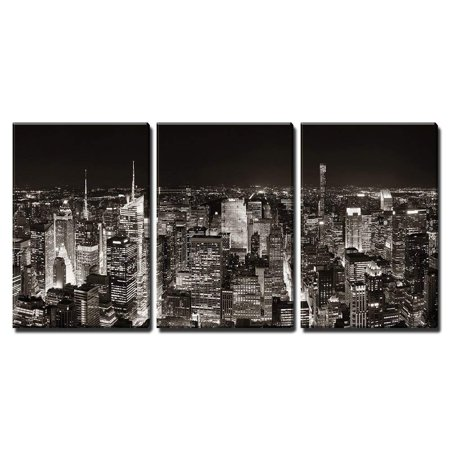 Skyline Skyscrapers (Wall26 - New York City Midtown Skyline Panorama with Skyscrapers and Urban Cityscape at Night - Canvas Art Wall Decor - 16
