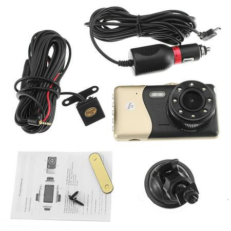 "4"" Dual Lens Car DVR Camera Dash Cam Video Rear Recorder G-Sensor Night Vision HD 1080P  - image 1 of 11"