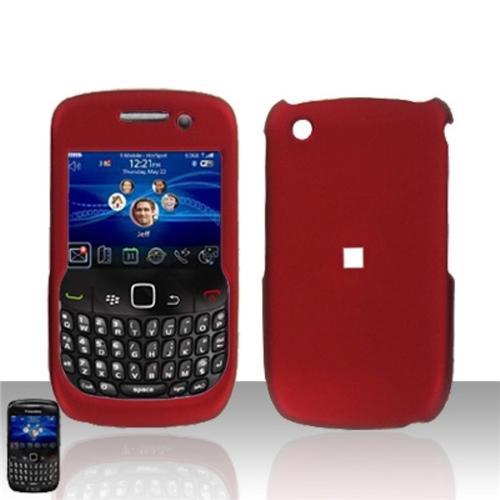 Insten For Blackberry Curve 8520 Rubberized Hard Protector Case - Red