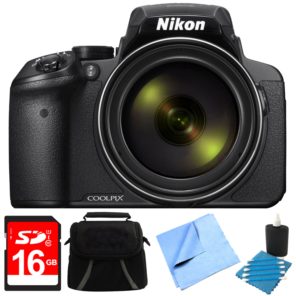 Nikon COOLPIX P900 16MP 83x Super Zoom Digital Camera Full HD Black 16GB Bundle - Includes Camera, 16GB Secure Digital SD Memory Card, Gadget Bag, Cleaning Kit and Cleaning Pen & Microfiber Cloth