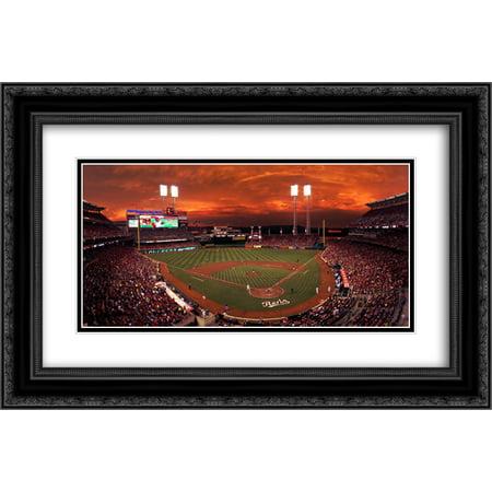 Great American Ballpark 2x Matted 24x16 Black Ornate Framed Art Print from the Stadium Series