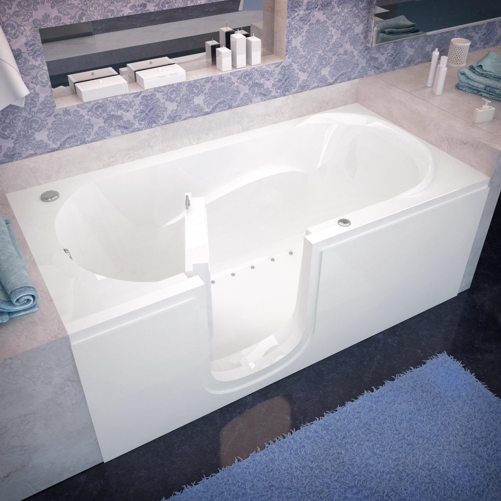 """Avano AV3060SILA Step-In Tubs 59-5/8"""" Acrylic Air Bathtub for Alcove Installations with Left Drain"""