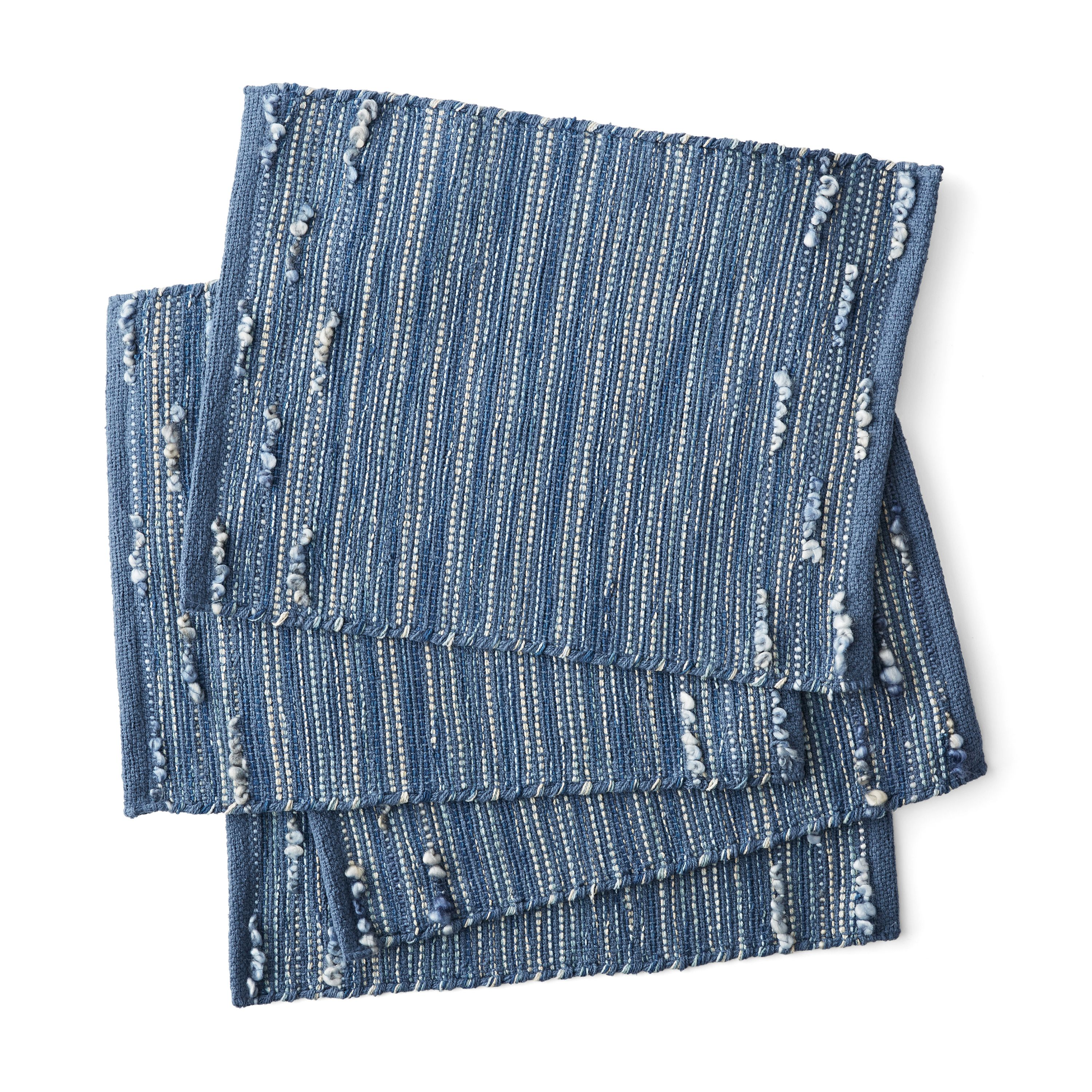 Better Homes & Gardens Striped Looped Placemats, Set of 4, Blue by Town & Country