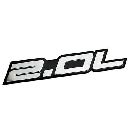 2.0L Liter Embossed SILVER on Black Highly Polished Silver Real Aluminum Auto Emblem Badge Nameplate for Honda LX EX CRV CR-V Del Sol S2000 Fit Acura Integra Nissan Sentra SR SR20-DET RB20-DET 240SX Del Sol Lx