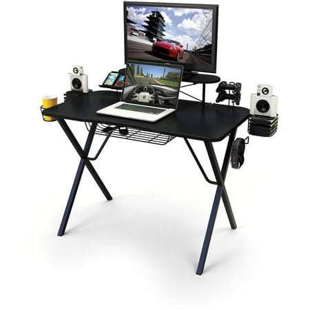 Atlantic Professional Gaming Desk Pro with Built-in Storage, Metal Accessory Holders and Cable -