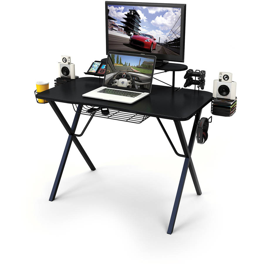 Atlantic Professional Gaming Desk Pro with Built-in Storage, Metal Accessory Holders and Cable Slots